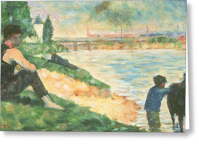 Georges Pierre Greeting Cards - Study for Une Baignade Greeting Card by Georges Pierre Seurat