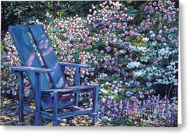 Garden Chairs Greeting Cards - Study in Blue Greeting Card by David Lloyd Glover