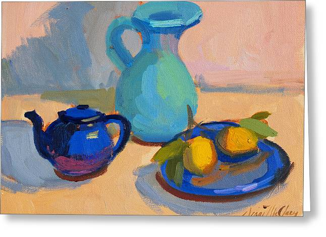 Pitcher Greeting Cards - Study in Blue Greeting Card by Diane McClary