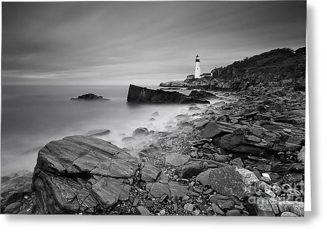 Maine Lighthouses Greeting Cards - Study in Grey Greeting Card by Katherine Gendreau