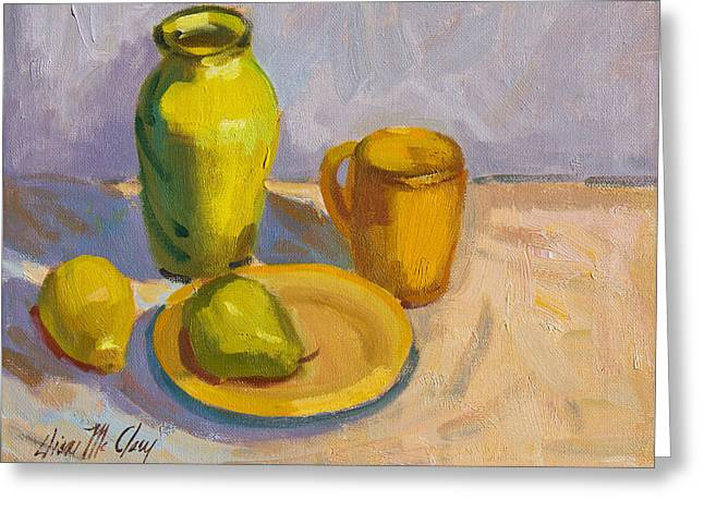 Pitcher Paintings Greeting Cards - Study in Yellow Greeting Card by Diane McClary
