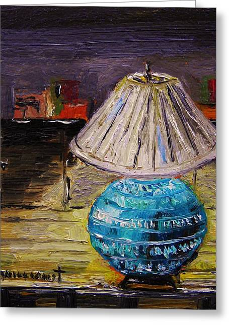 Oil Lamp Drawings Greeting Cards - Study Lamp Greeting Card by John  Williams