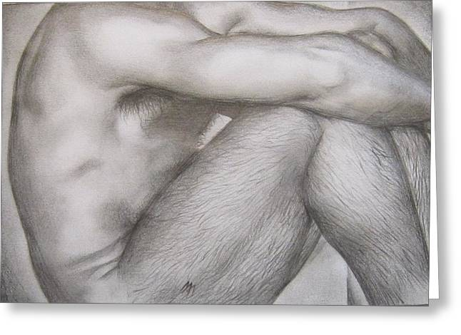 Homoerotic Drawings Greeting Cards - Study Greeting Card by Michael Flynt