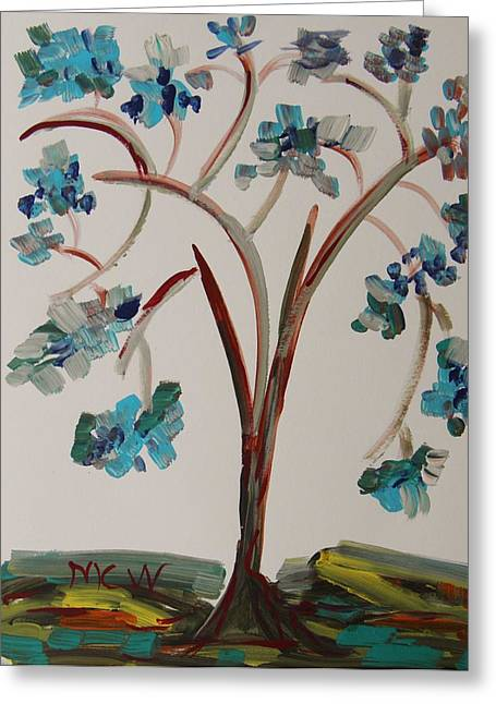 Study Of A Blue Tree Greeting Card by Mary Carol Williams