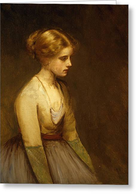 Full Skirt Greeting Cards - Study of a fair haired beauty  Greeting Card by Jean Jacques Henner