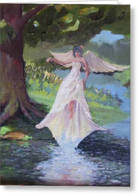 Fairy Painter Greeting Cards - Study of a fairy Greeting Card by Dan Smart