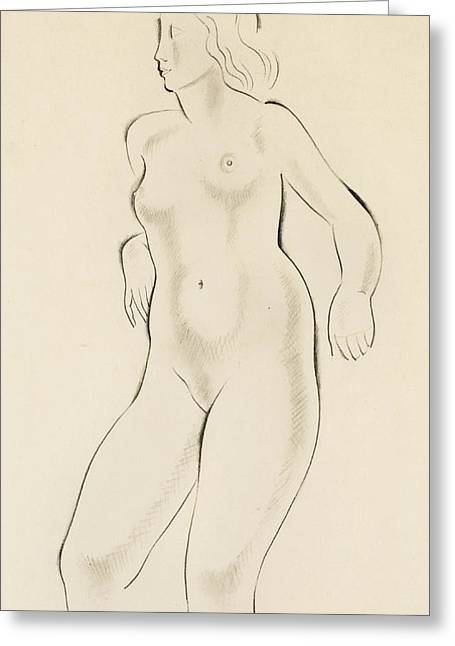 Nude Drawings Drawings Greeting Cards - Study of a Female Nude Greeting Card by Eric Gill
