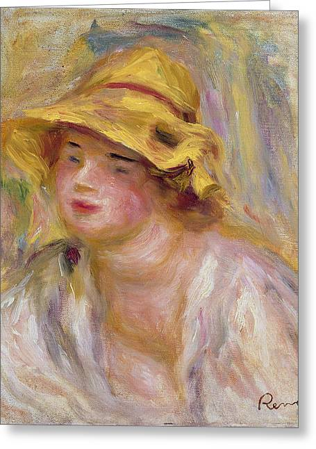 Study Of A Girl, C.1918-19 Greeting Card by Pierre Auguste Renoir