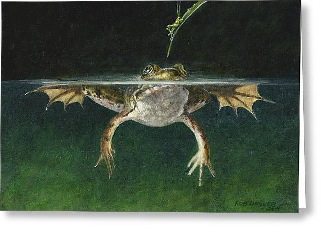 Grasshopper Paintings Greeting Cards - Study of a Grasshopper Greeting Card by Rob Dreyer AFC