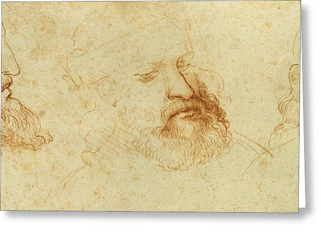Da Vinci Code Greeting Cards - Study of a male head Greeting Card by Leonardo Da Vinci