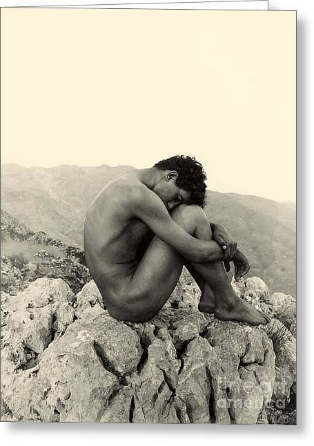 Black Top Greeting Cards - Study of a Male Nude on a Rock in Taormina Sicily Greeting Card by Wilhelm von Gloeden