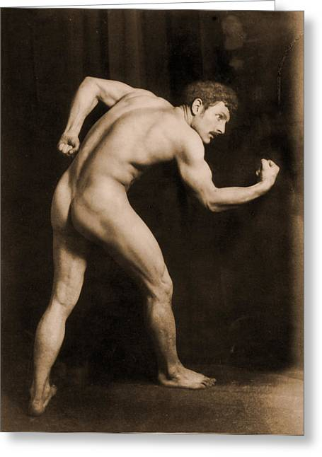 Study Of A Male Nude Greeting Card by Wilhelm von Gloeden