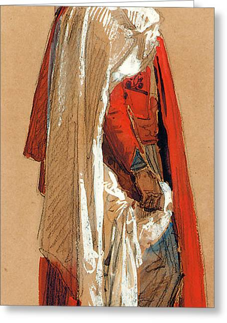Oriental Art Greeting Cards - Study of a man in Oriental costume Greeting Card by Isidore Pils