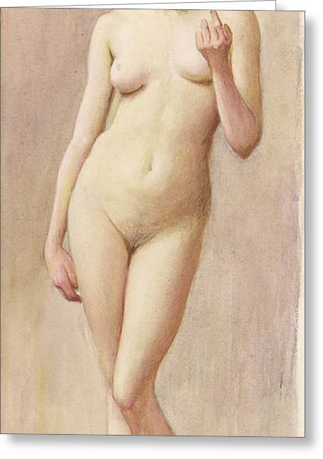Study Of A Nude II Greeting Card by Murray Bladon