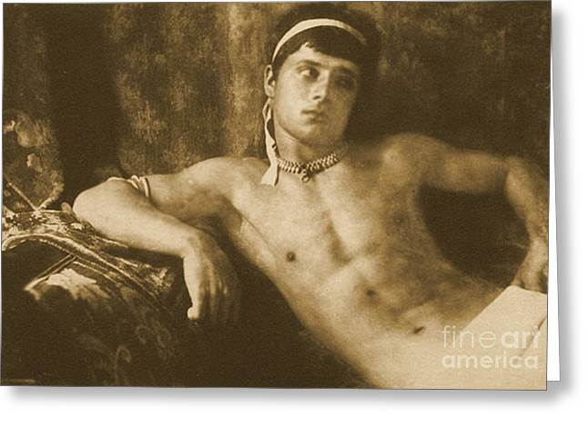 Homoerotic Photographs Greeting Cards - Study of a Reclining Boy Wearing Jewelry Greeting Card by Wilhelm von Gloeden