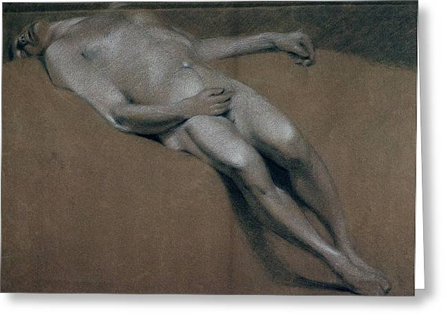 Lying Greeting Cards - Study Of A Recumbent Male Nude Chalk On Paper Greeting Card by John Constable