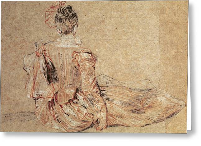 Costume Photographs Greeting Cards - Study Of A Woman Seen From The Back, 1716-18 Chalk On Paper Greeting Card by Jean Antoine Watteau