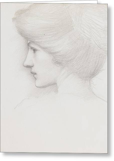 WomenÕs Drawings Greeting Cards - Study of a womans head profile to left Greeting Card by Sir Edward Coley Burne-Jones