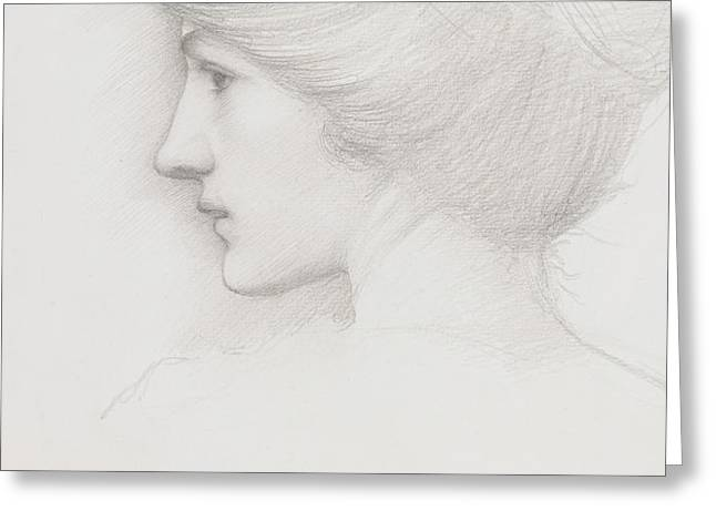 Study of a woman's head profile to left Greeting Card by Sir Edward Coley Burne-Jones