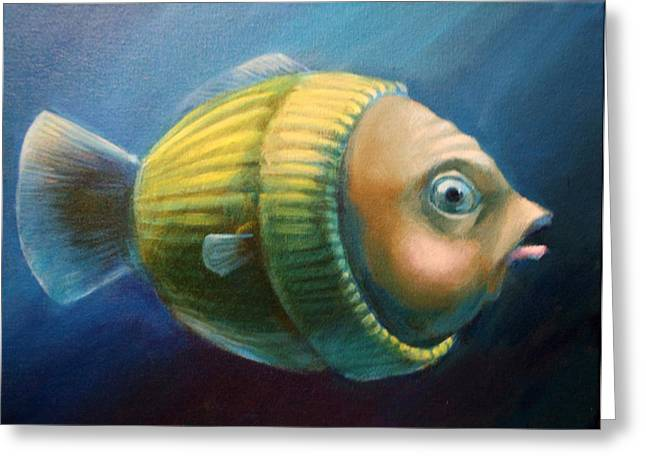 Yellow Sweater Greeting Cards - Study of a Worried Sweater Fish Lateral View Greeting Card by Vanessa Bates