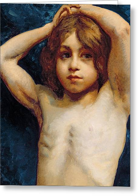 Study Of A Young Boy Greeting Card by William John Wainwright