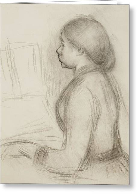 Youth Drawings Greeting Cards - Study of a Young Girl at the Piano Greeting Card by Pierre Auguste Renoir
