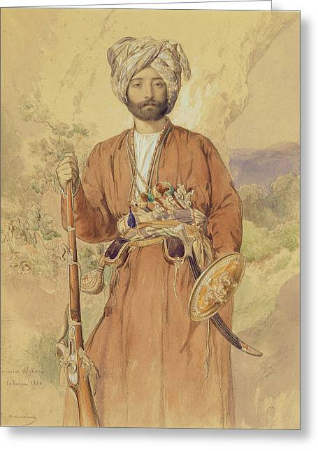 Musket Greeting Cards - Study Of An Afghan Warrior, Tehran, 1848 Greeting Card by Jules Joseph Augustin Laurens