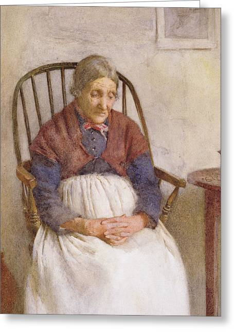 Elderly Female Greeting Cards - Study of an Elderly Lady Greeting Card by Frederick James McNamara Evans