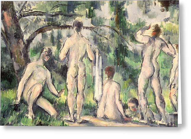 Homoerotic Greeting Cards - Study of Bathers Greeting Card by Paul Cezanne