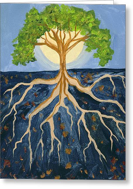 Tree Roots Paintings Greeting Cards - Study of Blue Earth Greeting Card by Cedar Lee