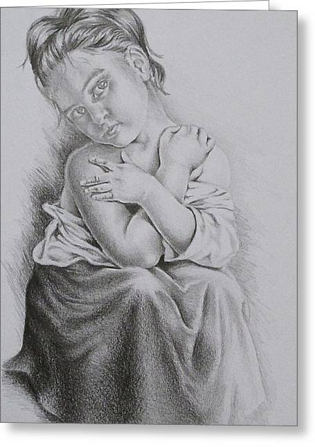 Pencil On Canvas Greeting Cards - Study of Bouguereaus La Frileuse  Greeting Card by Lisa Marie Szkolnik