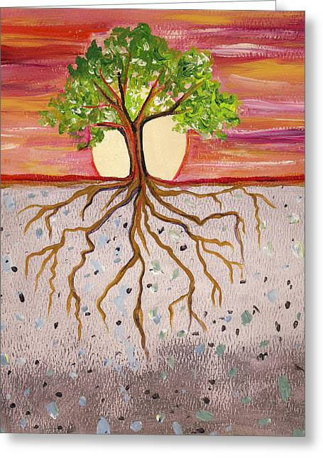 Tree Roots Paintings Greeting Cards - Study of Deep Roots and Sunset Greeting Card by Cedar Lee