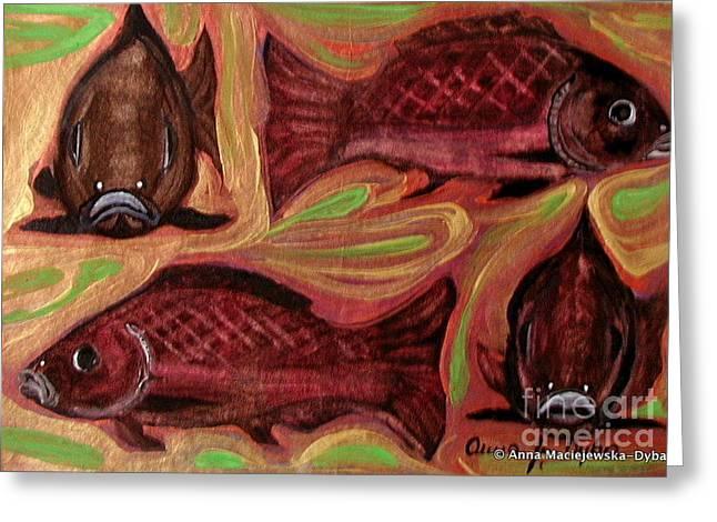 Study Of Fish Greeting Card by Anna Folkartanna Maciejewska-Dyba