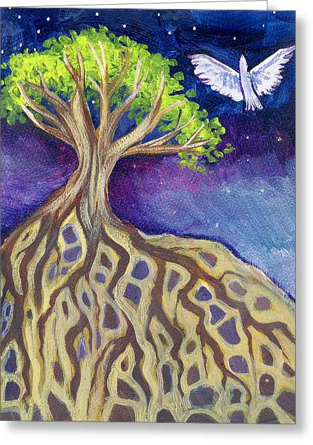 Tree Roots Paintings Greeting Cards - Study of Messenger Received Greeting Card by Cedar Lee