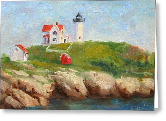 Cape Neddick Greeting Cards - Study of Nubble Light Greeting Card by Jason Walcott