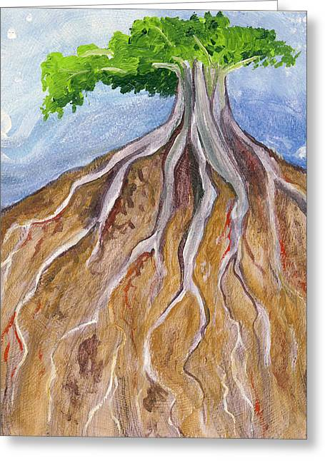 Tree Roots Paintings Greeting Cards - Study of Roots in Gold Earth Greeting Card by Cedar Lee