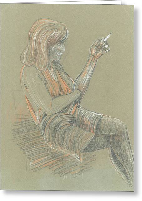 Duke Pastels Greeting Cards - Study of Seated Girl Greeting Card by Giovanni Caputo