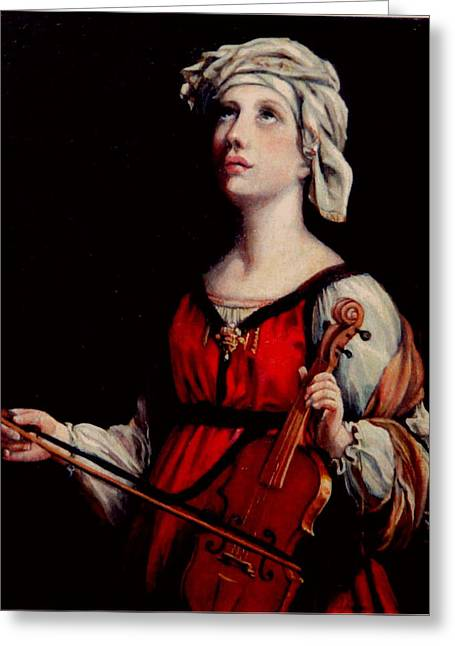 Old Masters Greeting Cards - Study of St. Cecelia Greeting Card by Donna Tucker