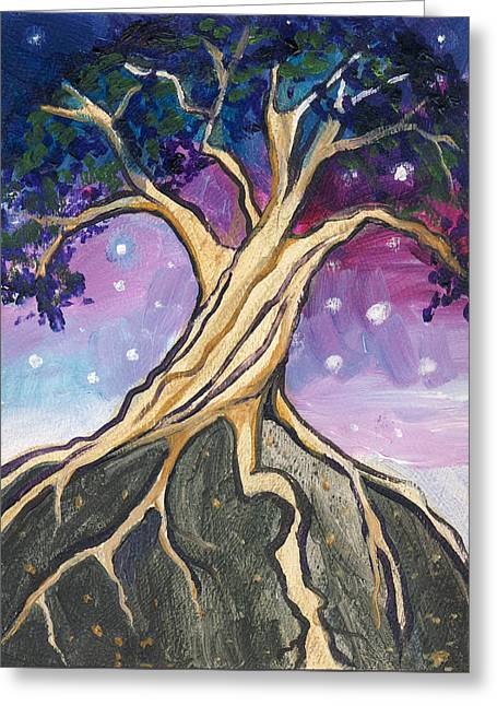 Tree Roots Paintings Greeting Cards - Study of Star-Lit Hill Greeting Card by Cedar Lee