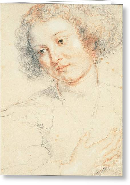 Flemish Greeting Cards - Study of the Head of St. Apollonia Greeting Card by Peter Paul Rubens