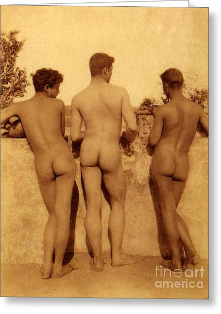 Study Of Three Male Nudes Greeting Card by Wilhelm von Gloeden
