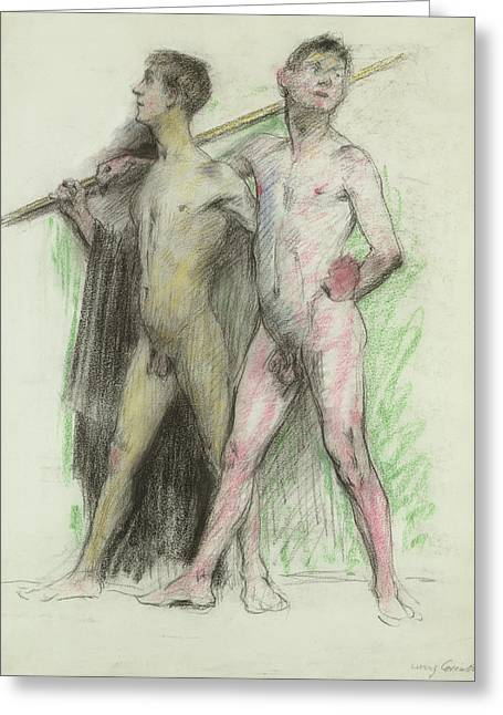 Homoerotic Photographs Greeting Cards - Study Of Two Male Figures Pastel On Paper Greeting Card by Lovis Corinth
