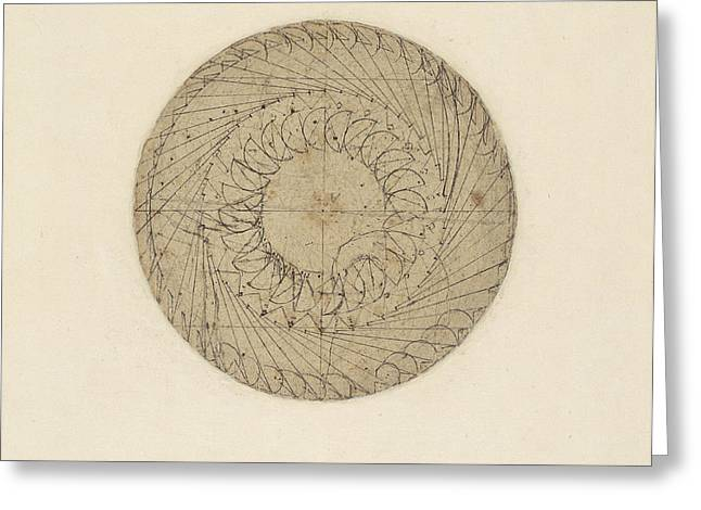 Literary Greeting Cards - Study of water wheel from Atlantic Codex  Greeting Card by Leonardo Da Vinci