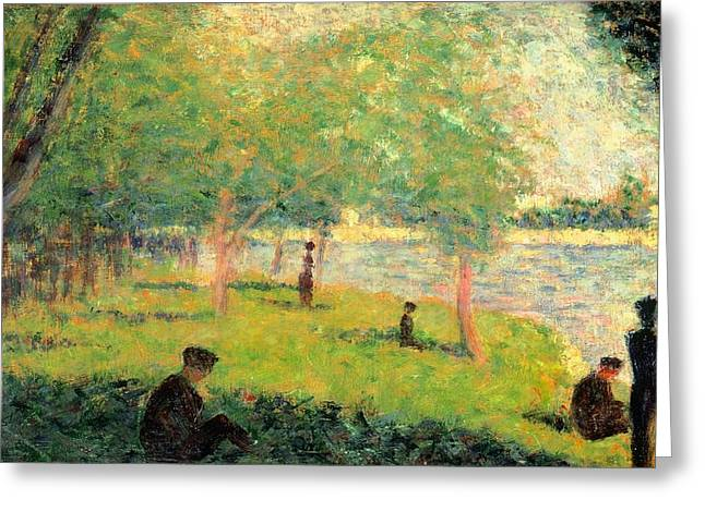 La Grande Jatte Greeting Cards - Study on La Grande Jatte Greeting Card by Georges Seurat