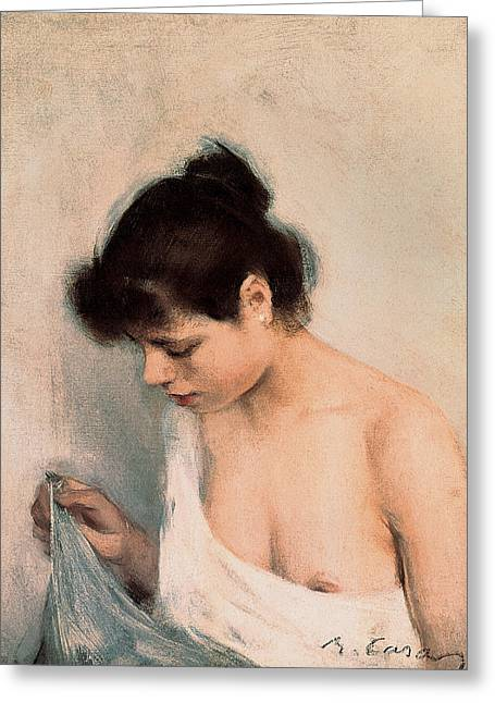 Slip Greeting Cards - Study Greeting Card by Ramon Casas i Carbo
