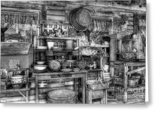 Indiana Art Greeting Cards - Stuff For Sale bw Greeting Card by Mel Steinhauer