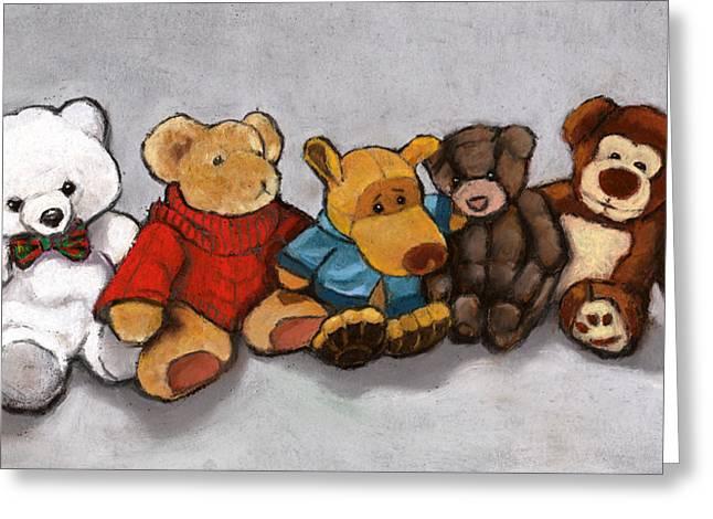 Toys Pastels Greeting Cards - Stuffed Animal Friends Greeting Card by Joyce Geleynse