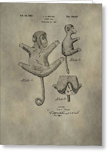 Toy Shop Greeting Cards - Stuffed Monkey Patent Greeting Card by Dan Sproul