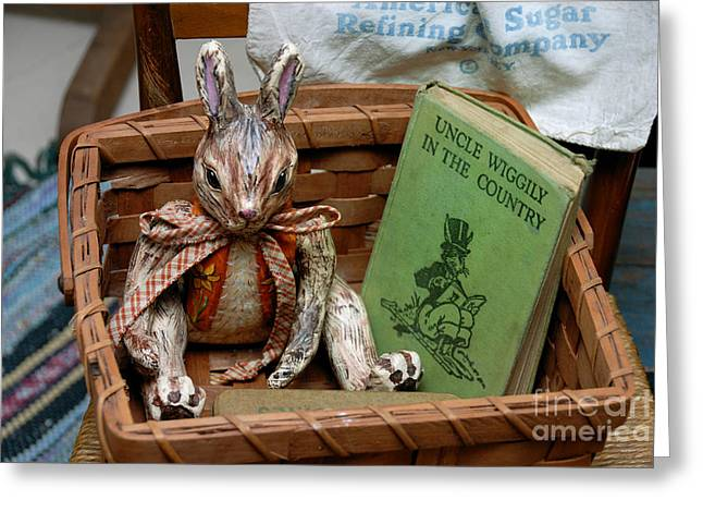 Stuffed Rabbit and Uncle Wiggly Book Greeting Card by Amy Cicconi