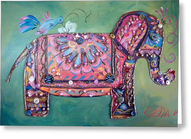 Stuffy Greeting Cards - Stuffy the Elephant Greeting Card by Otella Brantmier